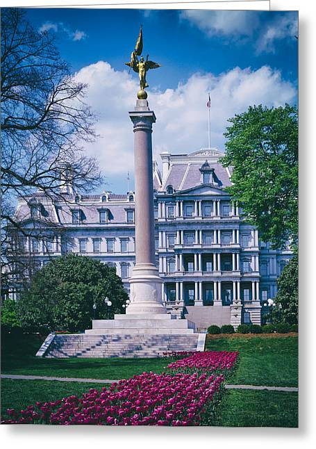 """winged Victory"" Greeting Cards - Presidents Park and Old Executive Building - 1980s Greeting Card by Mountain Dreams"