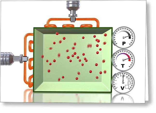 Explanation Greeting Cards - Pressure-temperature gas law, artwork Greeting Card by Science Photo Library