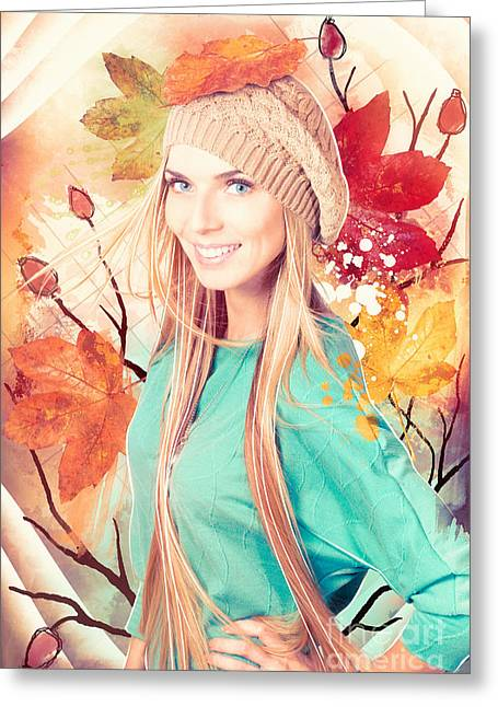 Hand-watercolored Greeting Cards - Pretty blond girl in autumn fashion illustration Greeting Card by Ryan Jorgensen