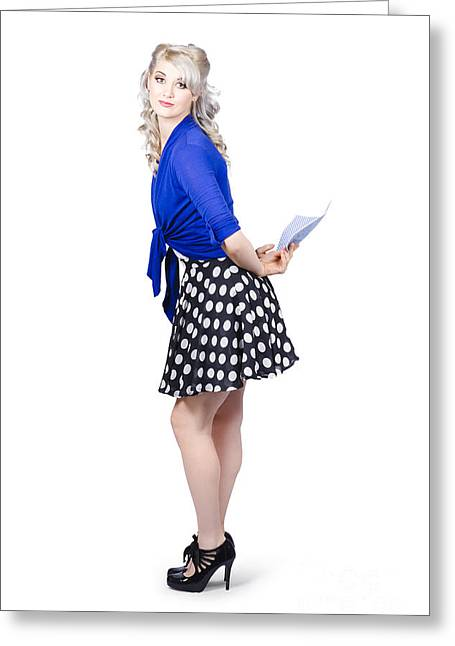 Pretty Housewife With Washing Cloth. Clean Style Greeting Card by Jorgo Photography - Wall Art Gallery