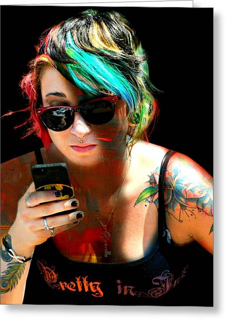 Candid Portraits Greeting Cards - Pretty In Ink Greeting Card by Diana Angstadt