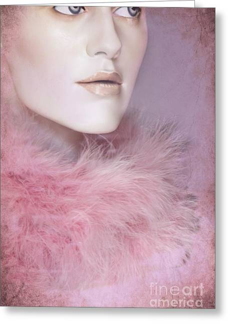 Fur Collar Greeting Cards - Pretty in Pink Greeting Card by Sophie Vigneault