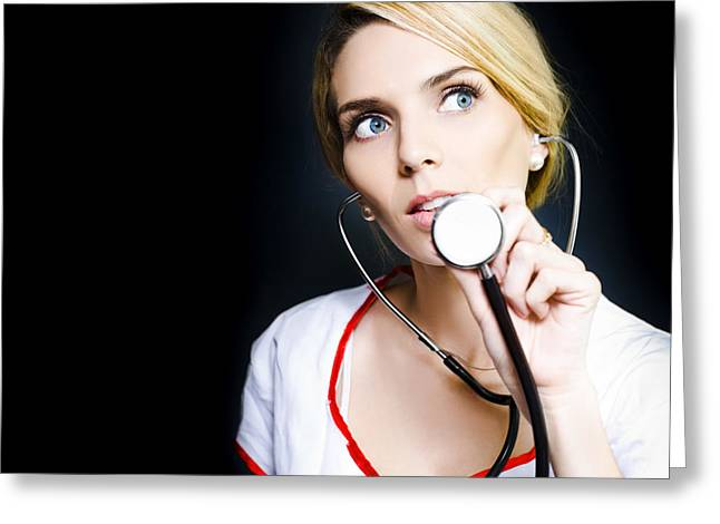 Checkup Greeting Cards - Pretty nurse ready to check a patients heartbeat Greeting Card by Ryan Jorgensen