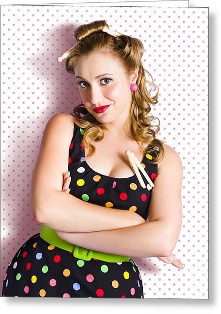 Pretty Retro Cleaning Lady On Polka Dot Background Greeting Card by Jorgo Photography - Wall Art Gallery