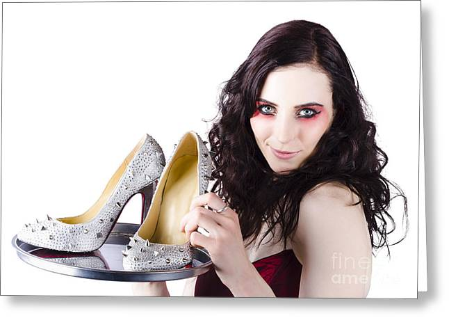 Hair Accessory Greeting Cards - Pretty woman selling shoes on silver plate Greeting Card by Ryan Jorgensen