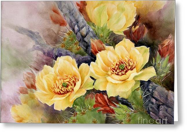 Summer Celeste Greeting Cards - Prickly Pear in Bloom Greeting Card by Summer Celeste