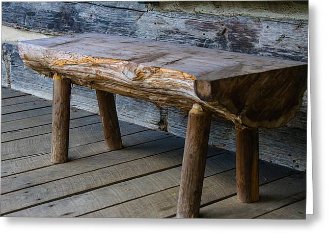 Belle Meade Greeting Cards - Primitive Bench Greeting Card by Robert Hebert