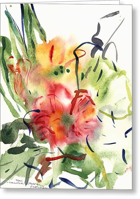 Yellow Leaves Greeting Cards - Primroses Greeting Card by Claudia Hutchins-Puechavy