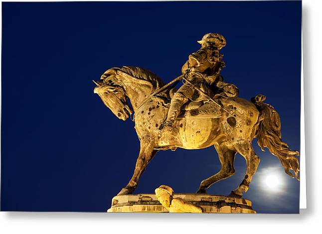 Historic Statue Greeting Cards - Prince Eugene of Savoy Statue at Night Greeting Card by Artur Bogacki