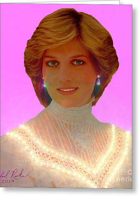 Duchess Of Cambridge Greeting Cards - Princess Diana Greeting Card by Michael Rucker