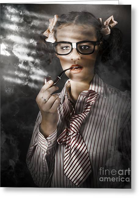 Interviewed Greeting Cards - Private Eye Detective Smoking At Crime Scene Greeting Card by Ryan Jorgensen