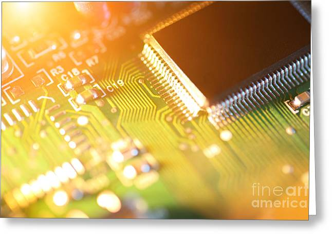 Processor Chip On Circuit Board Greeting Card by Konstantin Sutyagin