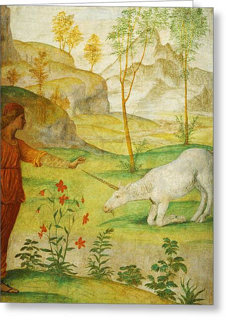 Child Jesus Greeting Cards - Procris and the Unicorn Greeting Card by Celestial Images