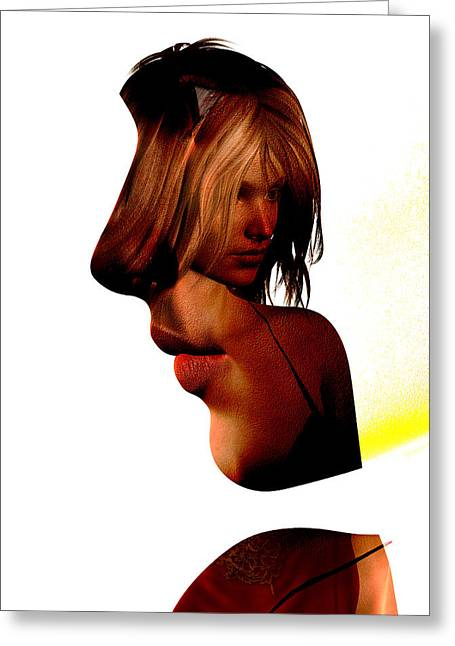 Profile Of A Woman Greeting Card by David Ridley