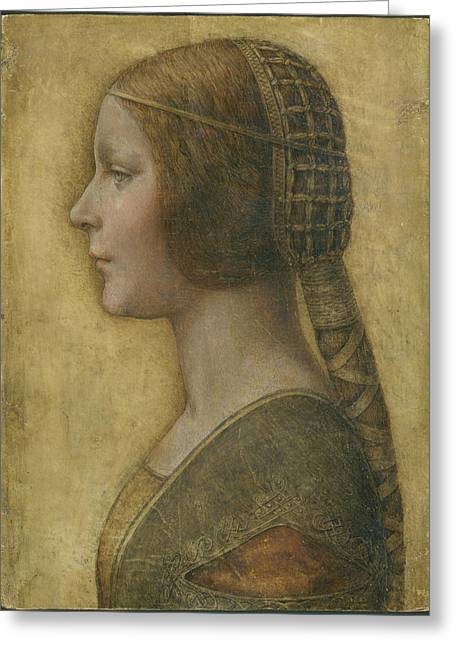 Crossed Hands Greeting Cards - Profile of a Young Fiancee Greeting Card by Leonardo Da Vinci