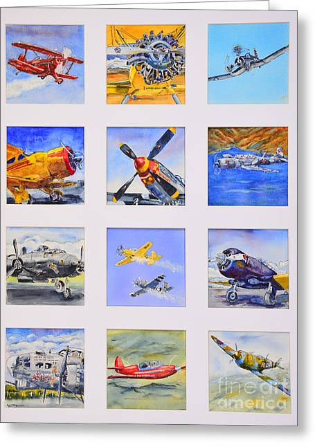 Prop Planes Greeting Card by Betsy Aguirre