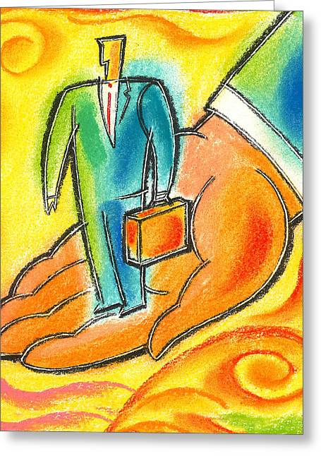 Businessmen Greeting Cards - Protection  Greeting Card by Leon Zernitsky