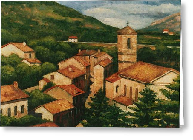 Provence Village Greeting Cards - Provence Rooftops Greeting Card by Colleen Gallo