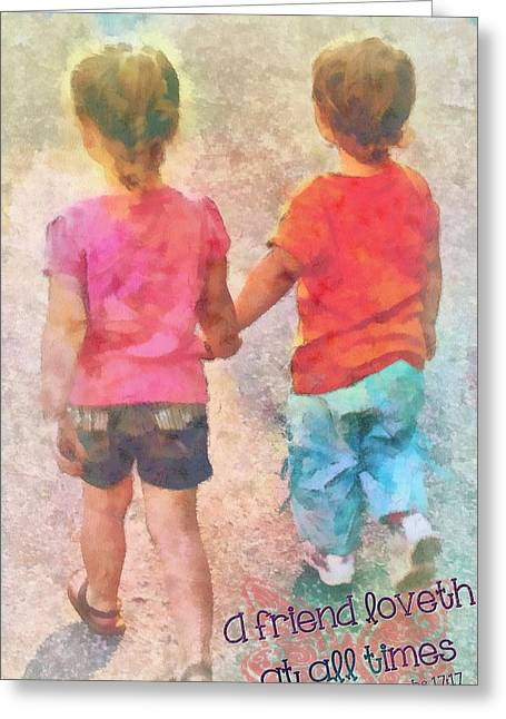 Toddlers Poster Greeting Cards - Proverbs 17 17 Greeting Card by Michelle Greene Wheeler