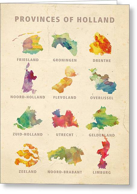 Limburg Digital Art Greeting Cards - Provinces of Holland Greeting Card by Big City Artwork