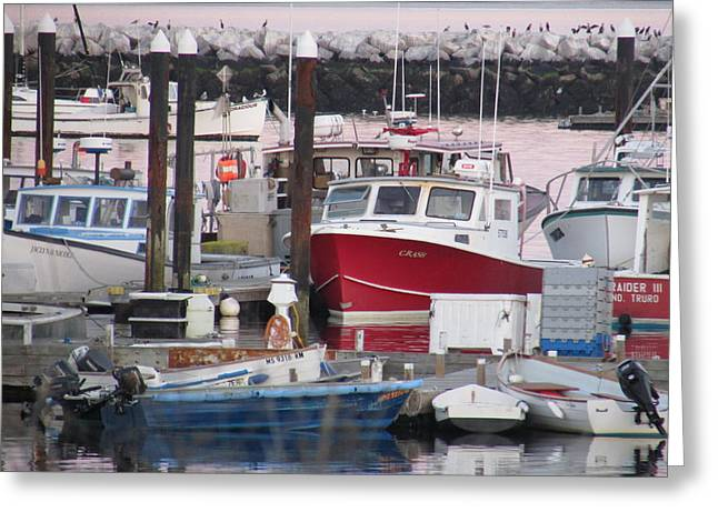 Recently Sold -  - Boats In Harbor Greeting Cards - Provincetown Harbor Greeting Card by Amy Chesnut
