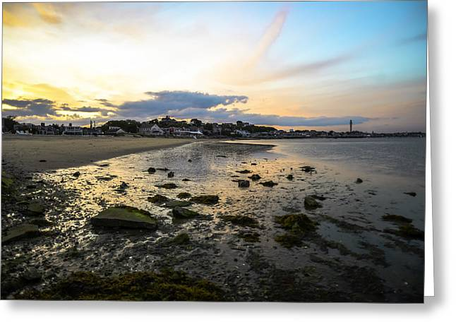 Moss Green Greeting Cards - Provincetown Sunrise Greeting Card by Art K
