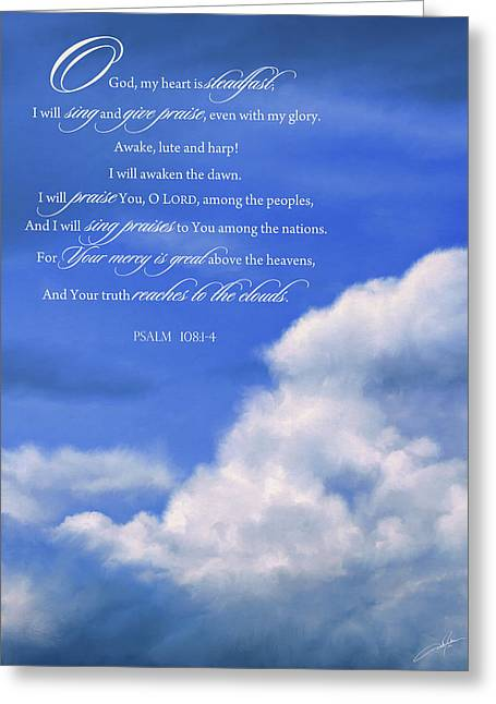 Bible Digital Art Greeting Cards - Psalm 108 Greeting Card by Dale Jackson