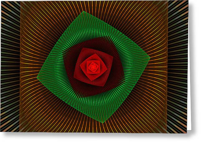Digital Flower Greeting Cards - Psychedelic Spiral Vortex Green And Red Fractal Flame Greeting Card by Keith Webber Jr