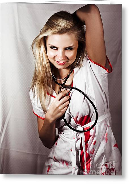 Psychotic Killer Nurse Greeting Card by Jorgo Photography - Wall Art Gallery