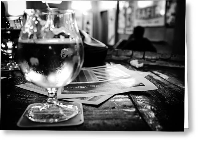 Glass Table Reflection Greeting Cards - Pub in Brussels Greeting Card by Mountain Dreams