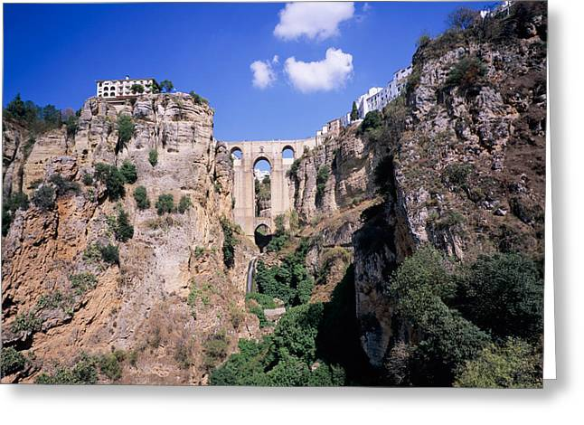 Malaga Greeting Cards - Puente Nuevo Bridge Above The Gorge Greeting Card by Panoramic Images