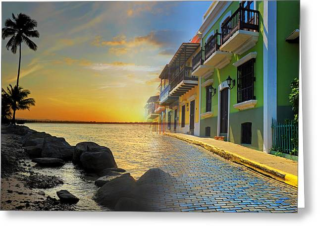 Old San Juan Greeting Cards - Puerto Rico Collage 4 Greeting Card by Stephen Anderson