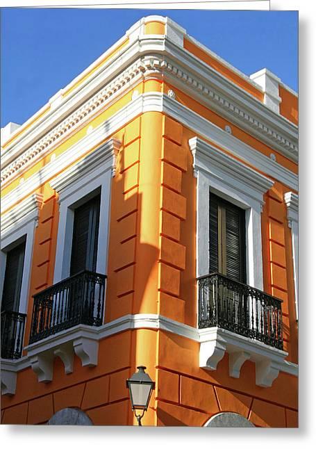 Puerto Rico, Old San Juan, Street Greeting Card by Miva Stock