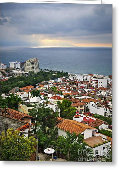 Puerto Vallarta And Pacific Ocean Greeting Card by Elena Elisseeva