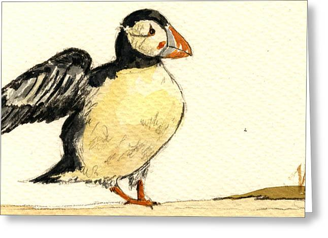 Puffins Greeting Cards - Puffin bird Greeting Card by Juan  Bosco