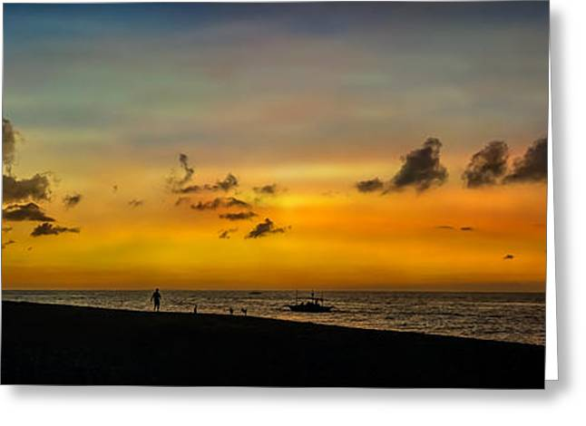 Sunset Seascape Greeting Cards - Puka Beach Sunset Greeting Card by Adrian Evans