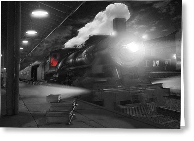 Railroad Tracks Greeting Cards - Pulling Out Greeting Card by Mike McGlothlen