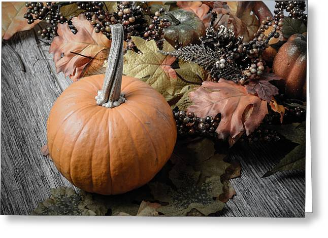 Jackolanterns Greeting Cards - Pumpkin and Fall Leaves on Rustic Wood Background Greeting Card by Brandon Bourdages