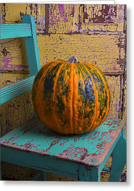 Fall Fruit Greeting Cards - Pumpkin On Green Chair Greeting Card by Garry Gay