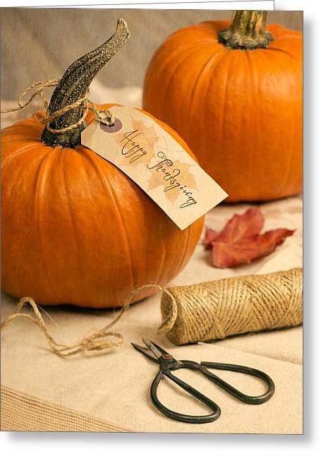 Label Photographs Greeting Cards - Pumpkins For Thanksgiving Greeting Card by Amanda And Christopher Elwell
