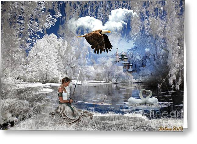 Swans... Greeting Cards - Pure hearted Warrior Greeting Card by Dolores Develde