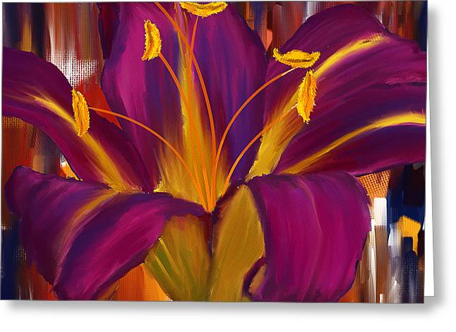 Purple Floral Greeting Cards - Purple Blast Greeting Card by Lourry Legarde