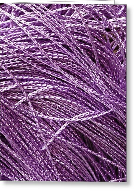 Imitation Greeting Cards - Purple string Greeting Card by Tom Gowanlock
