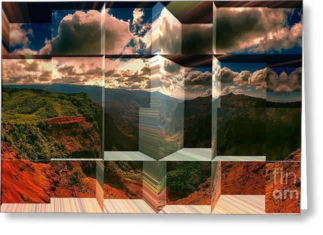 Waimea Valley Greeting Cards - Puu Hinahina Lookout-Waimea Canyon Kauai Hawaii Greeting Card by Douglas Barnard