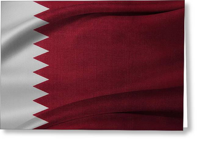 Textile Photographs Greeting Cards - Qatar flag Greeting Card by Les Cunliffe