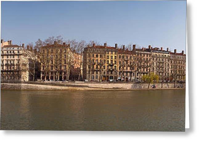 Marechal Greeting Cards - Quai Du Marechal Joffre Along The Saone Greeting Card by Panoramic Images
