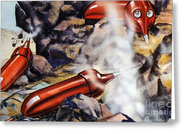 Pneumatic Drill Greeting Cards - Quarrying, Futuristic Artwork Greeting Card by Chris Hellier