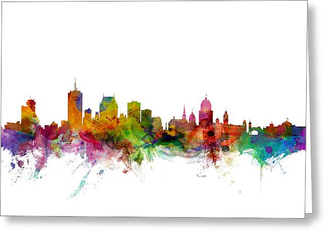 Skyline Greeting Cards - Quebec Canada Skyline Greeting Card by Michael Tompsett