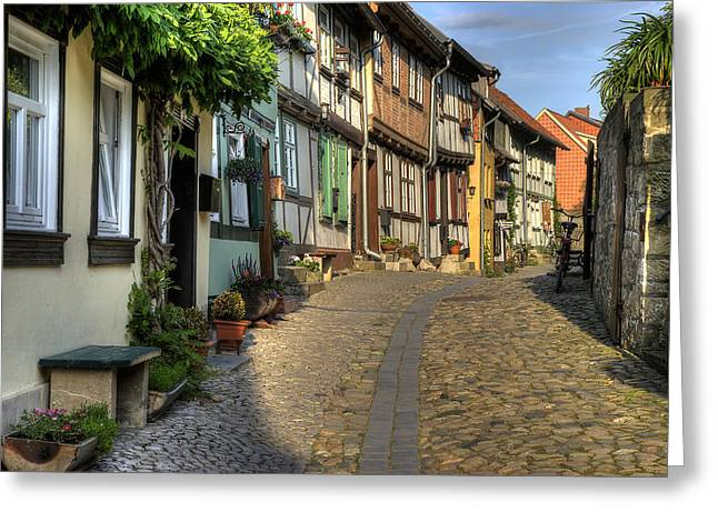 Street Pyrography Greeting Cards - Quedlinburg Greeting Card by Steffen Gierok