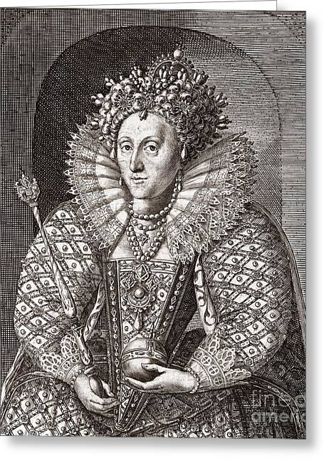 Heroologia Anglica Greeting Cards - Queen Elizabeth I, English Monarch Greeting Card by Middle Temple Library